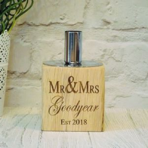 Personalised Mr & Mrs Wedding Candle Holder English Oak Wood, Silver